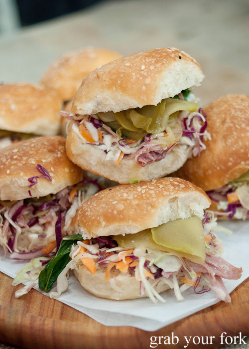 Ham hock and slaw on a whey and porkfat bun by Cornersmith at the Sunday Marketplace, Rootstock Sydney 2014