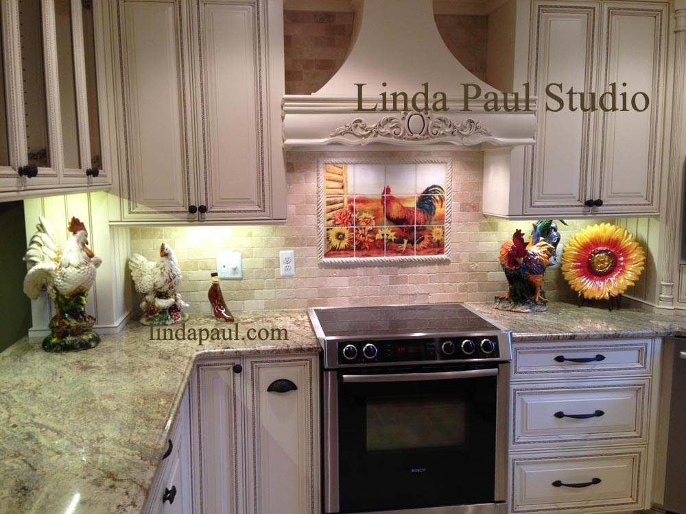 Rooster Kitchen Decor Backsplash with Sunflowers - Tile Murals of ...