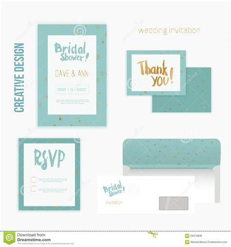 Set Of Wedding Invitation Cards With Thank You Card, RSVP