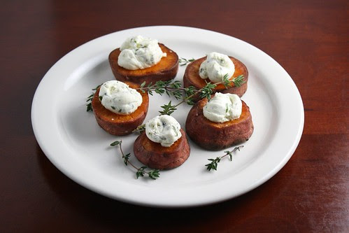 Roasted Sweet Potato Discs with Herbed Goat Cheese