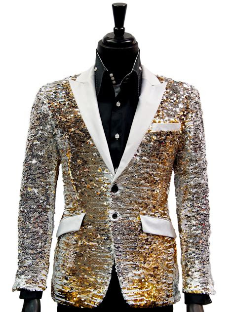 angelino men gold white silver sequin satin lapel party