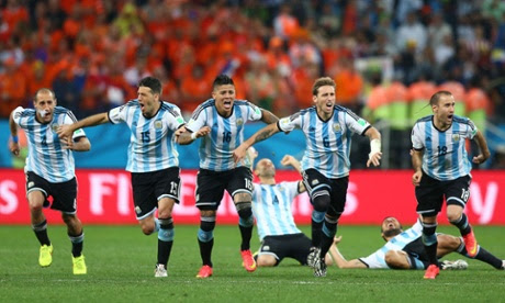 Argentina celebrate victory in the shoot-out.