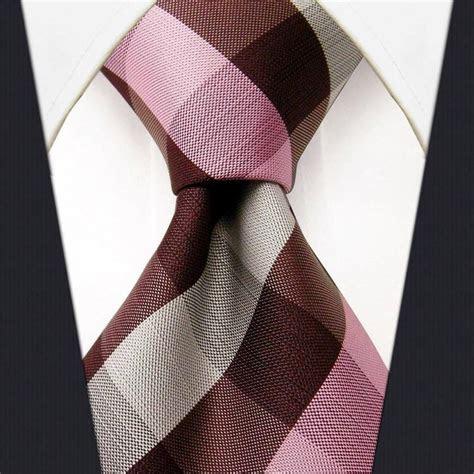 Mens Ties Neckties Checkered Pink Brown White 100% Silk
