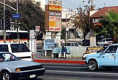 Daniel Buren LA bus-stop bench, photographed by Keith Schoenheit