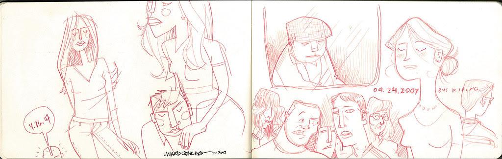 sketches: bus riding 3