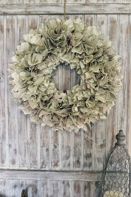 Ruffly book page wreath.  Great tutorial, not a lot of difficulty.  Happy at Home