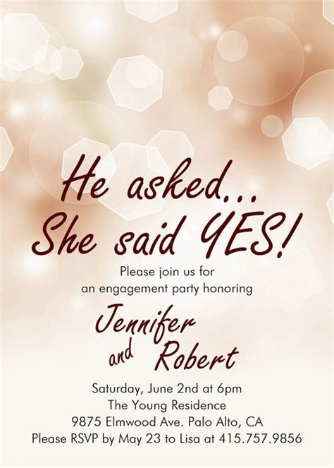 affordable shimmery elegant engagement party invitation