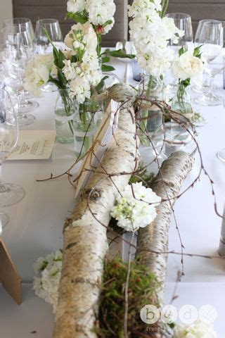 birch logs with floral accents. perfect for a contemporary
