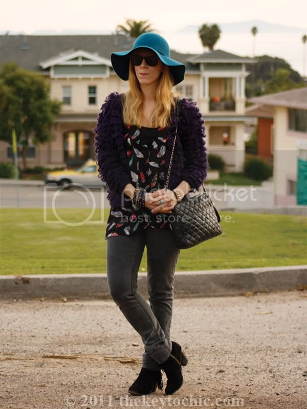 looped knit sweater, Cheap Monday jeans, Sam Edelman Louie boots, floppy hat, California fashion blog