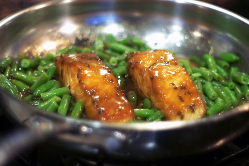 Miso Glazed Salmon Steaks with Green Beans