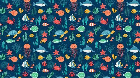 sea animals pattern desktop pc  mac wallpaper