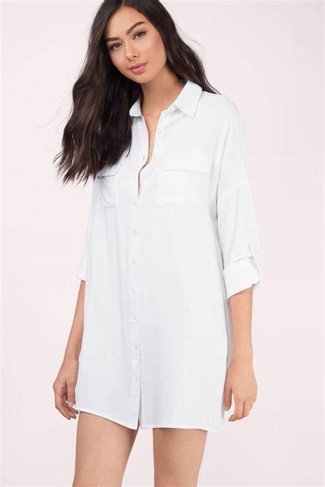 Cheap White Dress   Button Up Dress   Long Dress Shirt