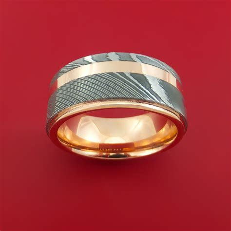 Damascus Steel 14K Rose Gold Ring Wedding Band with Gold