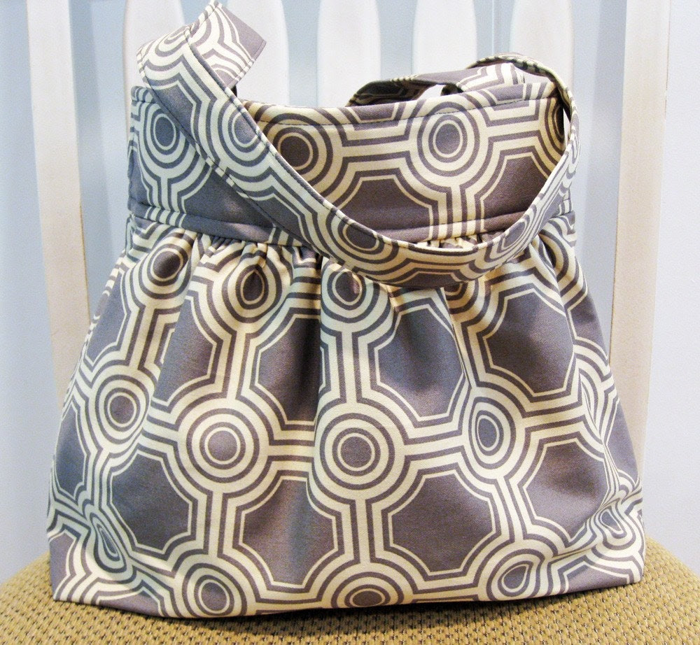 Gathered Fabric Bag in Joel Dewberry Tiles in Stone