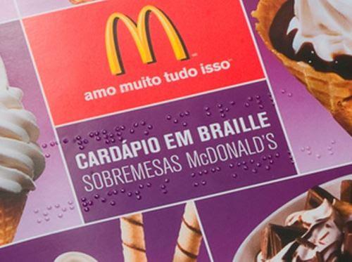 Cardápio em Braille das sobremesas McDonald's
