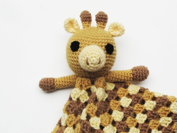 Giraffe Lovey - CROCHET PATTERN - blankey, blankie, security blanket