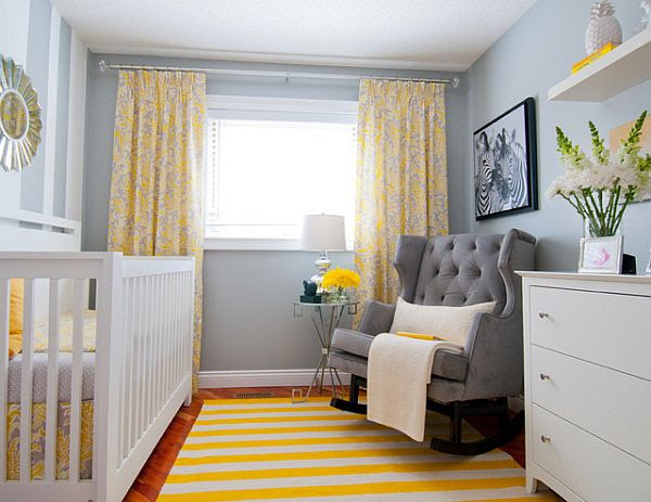white yellow and grey color scheem - baby room