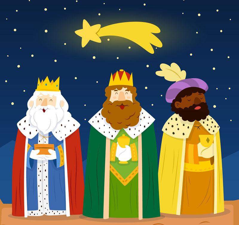 Estrellas De Dibujos Animados Y El Vector Material De Los Reyes