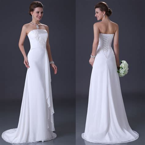 plain long whiteivory chiffon luxury  wedding dress