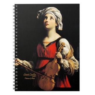 Saint Cecilia Partoness of Music Spiral Note Book