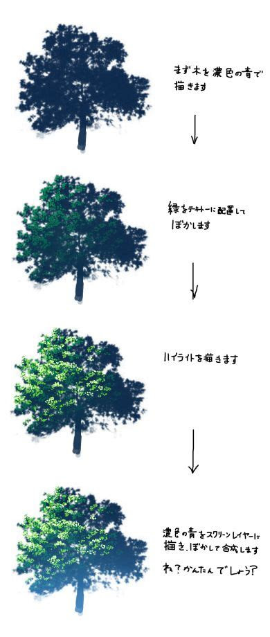 pixivnet nature background tree drawing anime color