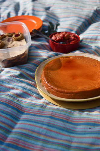 picnic on the grass with flan