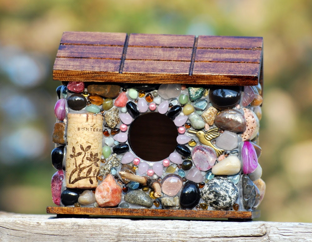 Whimsical Birdhouse Mosaic garden stone and Wine Cork