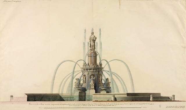 18th c. gouache architecture sketch