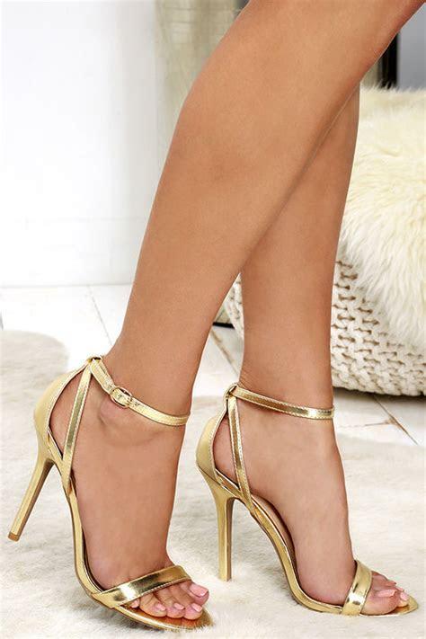 cute gold heels ankle strap heels metallic heels