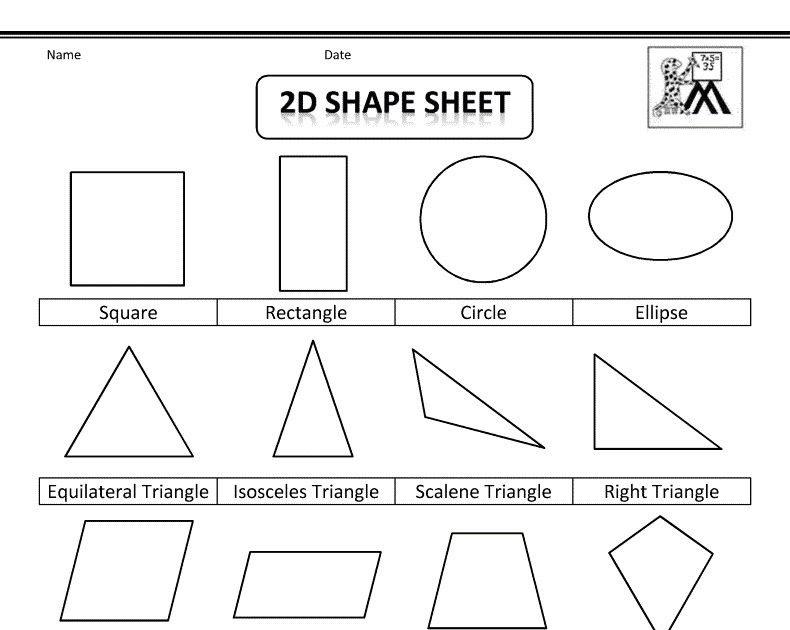 Different Shapes Worksheets For Kindergarten