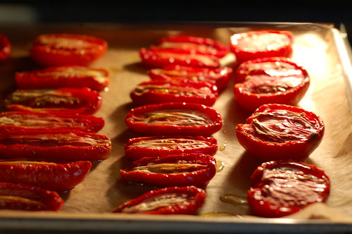 Tomatoes roasting in the oven by Eve Fox, Garden of Eating blog, copyright 2011