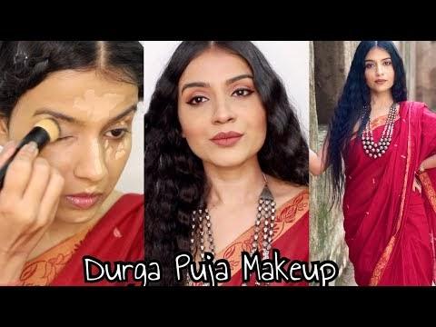 DURGA PUJA MAKEUP LOOK 2020   Navratri Makeup Look   Indian Festive Makeup Tutorial  Nidhi Chaudhary
