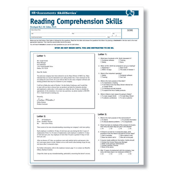 Workplace Reading Prehension Test