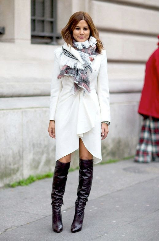 Le Fashion Blog Editor Christine Centenera Street Style Paris Fashion Week White Gathered Dress Printed Scarf Leather Knee High Boots Via Harpers Bazaar_2