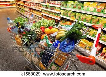 Arquivo Fotográficos - shopping, carreta,  fruta, vegetal,  alimento, supermercado.  fotosearch - busca  de fotos, imagens  e clipart