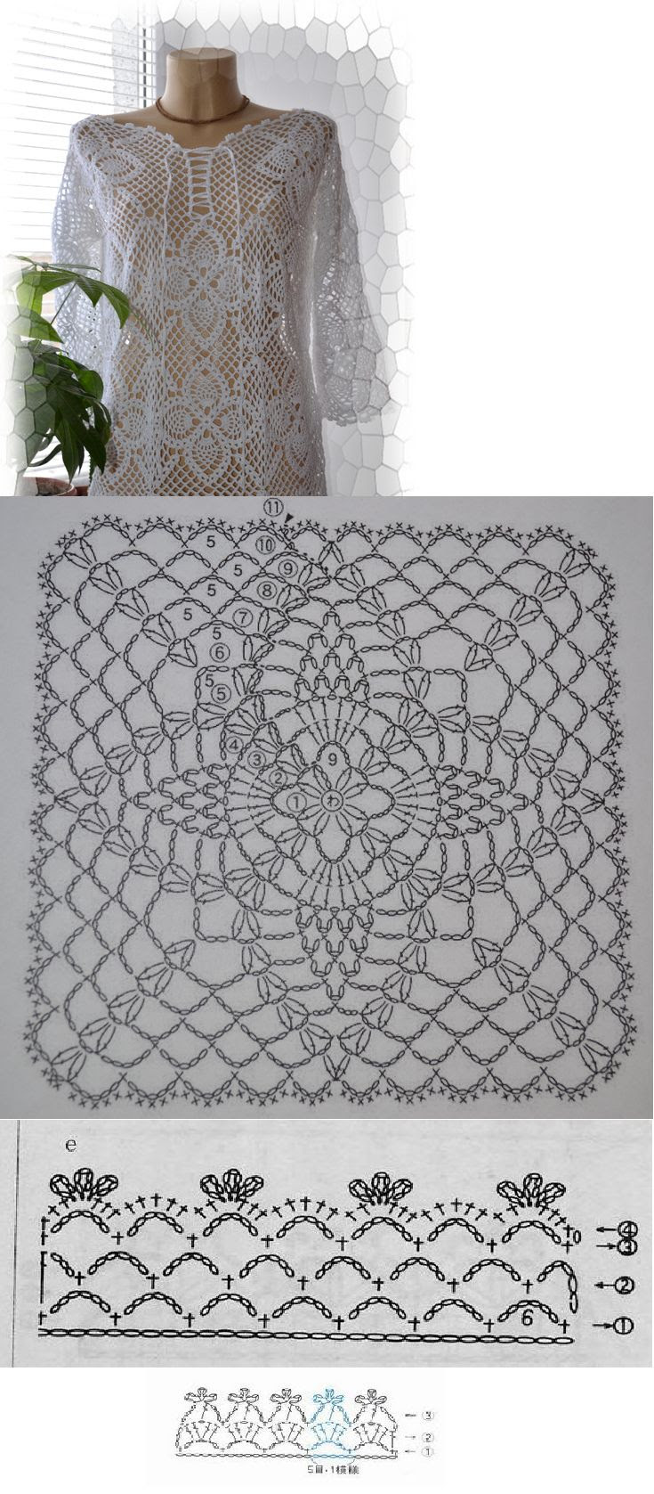 lacy crochet cover-up to wear anywhere, at the beach or at a party...       ♪ ♪ ... #inspiration_crochet #diy GB