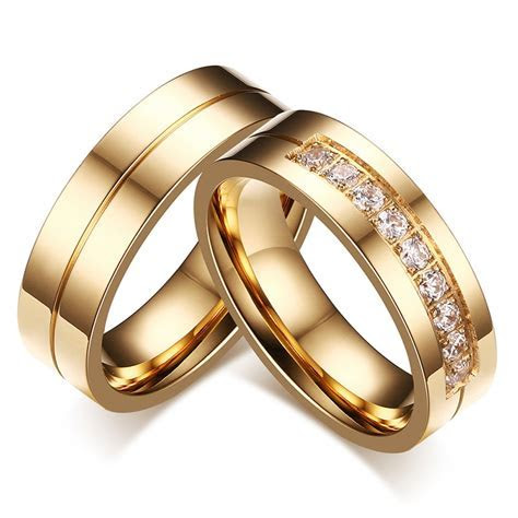 AAA  Cubic Zirconia Couple Ring Gold Color Ring for Women