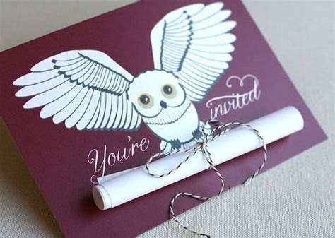 Snowy Owl Scroll Invitation, Harry Potter inspired (15
