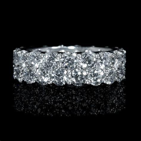 5.86ct Diamond Two Row 18k White Gold Eternity Wedding