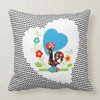 Portuguese Rooster with Black Dots Pillow