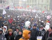 Manifestanti in piazza  (EPA/SERGEI ILNITSKY)