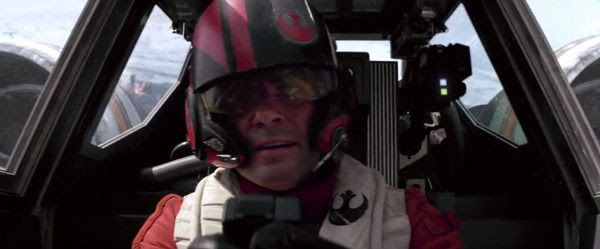 Poe Dameron (Oscar Isaac) leads his X-Wing squadron into battle above Takodana in STAR WARS: THE FORCE AWAKENS.