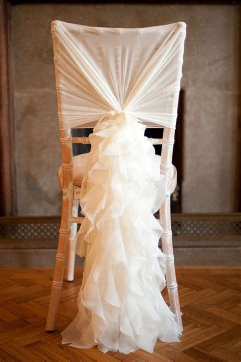 2019 Ivory Chair Sash For Weddings With Big 3D Organza