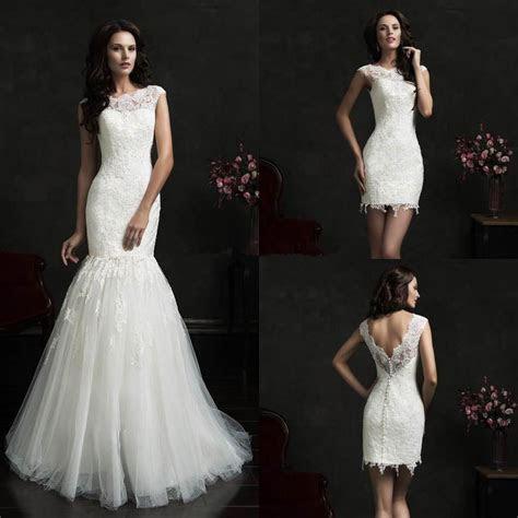 Sexy Mermaid Detachable Skirt Wedding Dress Lace Cap