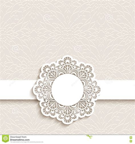 Wedding Card With Cutout Paper Lace Label Stock Vector