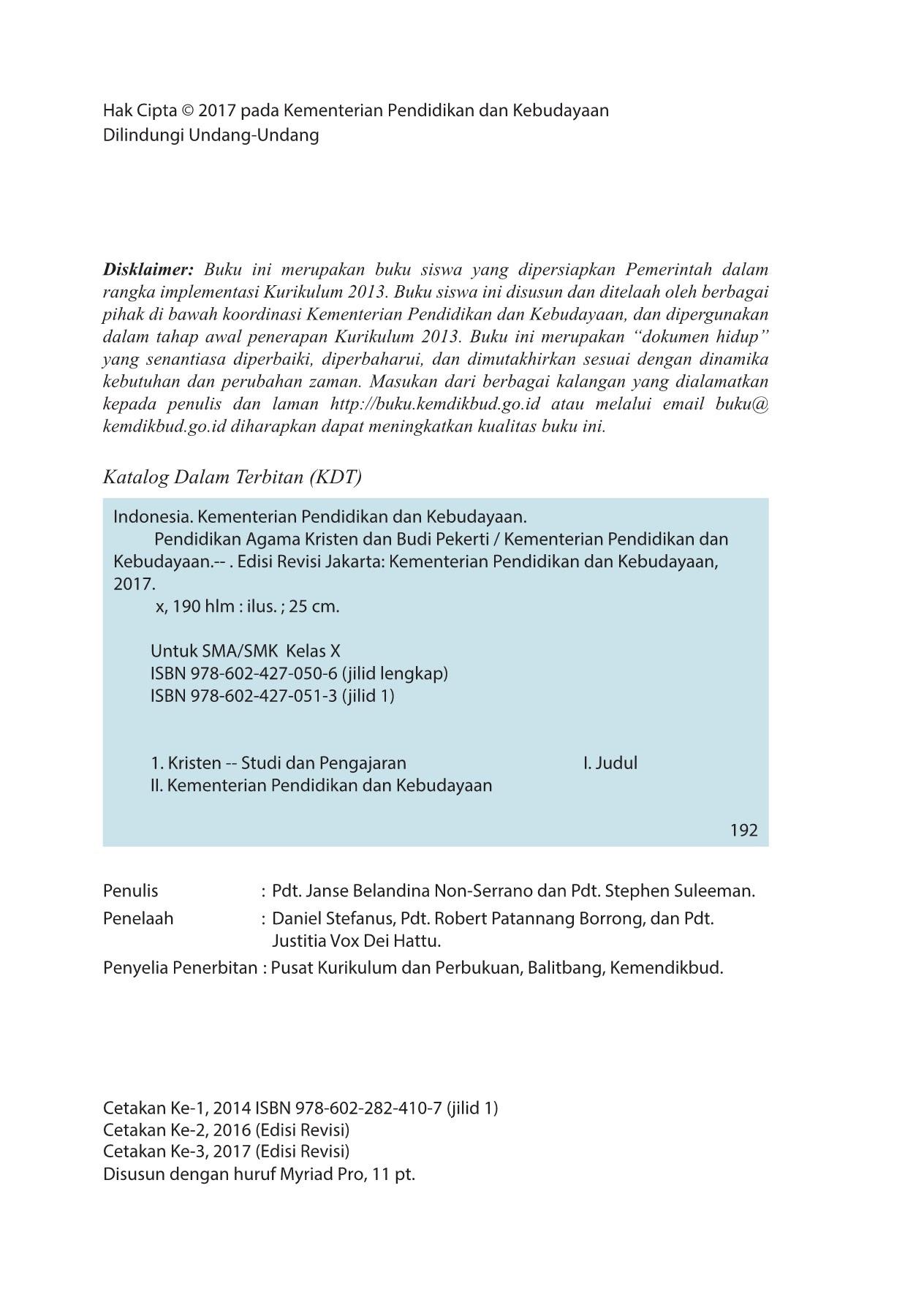 Kelas 10 SMA Pendidikan Agama Kristen dan Budi Pekerti Siswa 2017 Pages 101 150 Text Version
