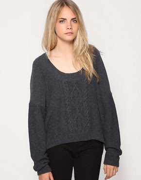 Image 1 of Free People Dipped Hem Chunky Cable Knit Sweater