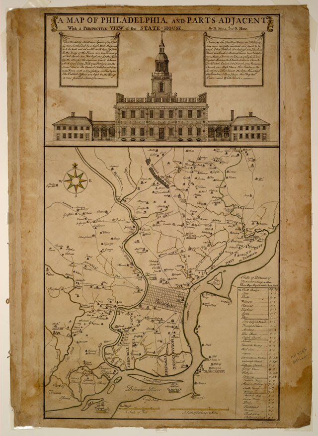 Independence Hall, Philadelphia with a map
