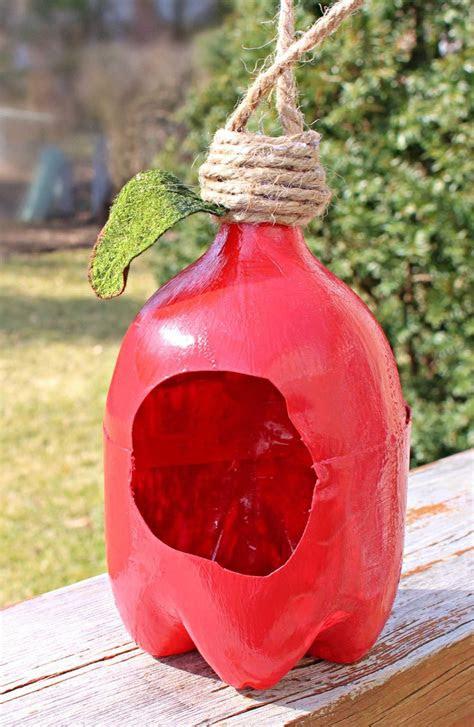 plastic bottle bird feeder apple shaped  upcycled pop