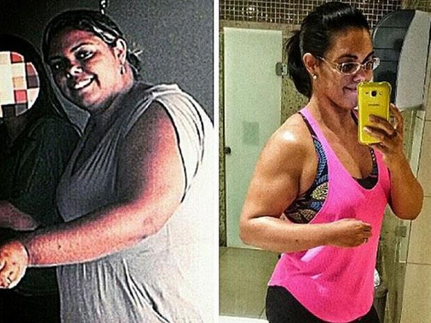 À esquerda, a motorista brasiliense Janaíne Barcelos antes de dar início ao processo para fazer cirurgia bariátrica; à direita, depois de perder 41 kg após ter o pedido negado (Foto: Janaíne Barcelos/Arquivo Pessoal)